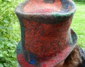 Felted Top Hat - MADE TO ORDER - Multicoloured Nuno Felt Patchwork Seamless Hat - wool and silk