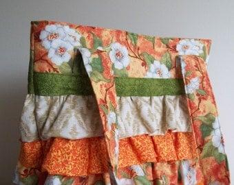 Ruffled Purse, Orange Blossom, Orange, Peach, Sand, Green Calico Floral Ruffled Bag Womens Accessory