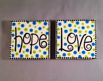 SALE - Hope and Love Square Magnets - Set