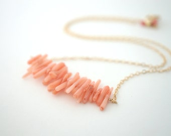 Coral Branch Necklace, Gold Coral Necklace, Pink Coral Necklace, Coral Row Necklace, Peach Coral Necklace