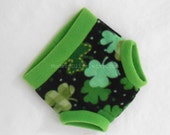 Large Shamrock Fleece Cloth Pullup/Fitted Diaper or Training Underpants Cover/Trainer Green Black, Ready to Ship for St. Patrick's Day