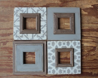 Set of 4 Distressed 5x5 Opening Picture Frames Gray, Light Grey and Chocolate