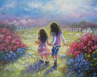 Two Sisters Art Print, two girls holding hands, girls room wall art, two brunette girls, children's wall art flower garden, Vickie Wade Art