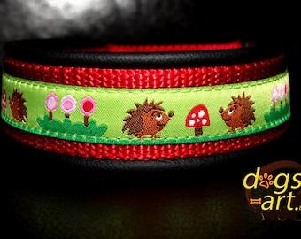 "Dog Collar ""Hedgehog"" by dogs-art, leather dog collar, martingale collar, boy dog collar, girl dog collar, dog collar leather, hedgehog, dog"