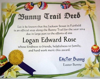 Easter Bunny Trail Deed Personalized Certificate