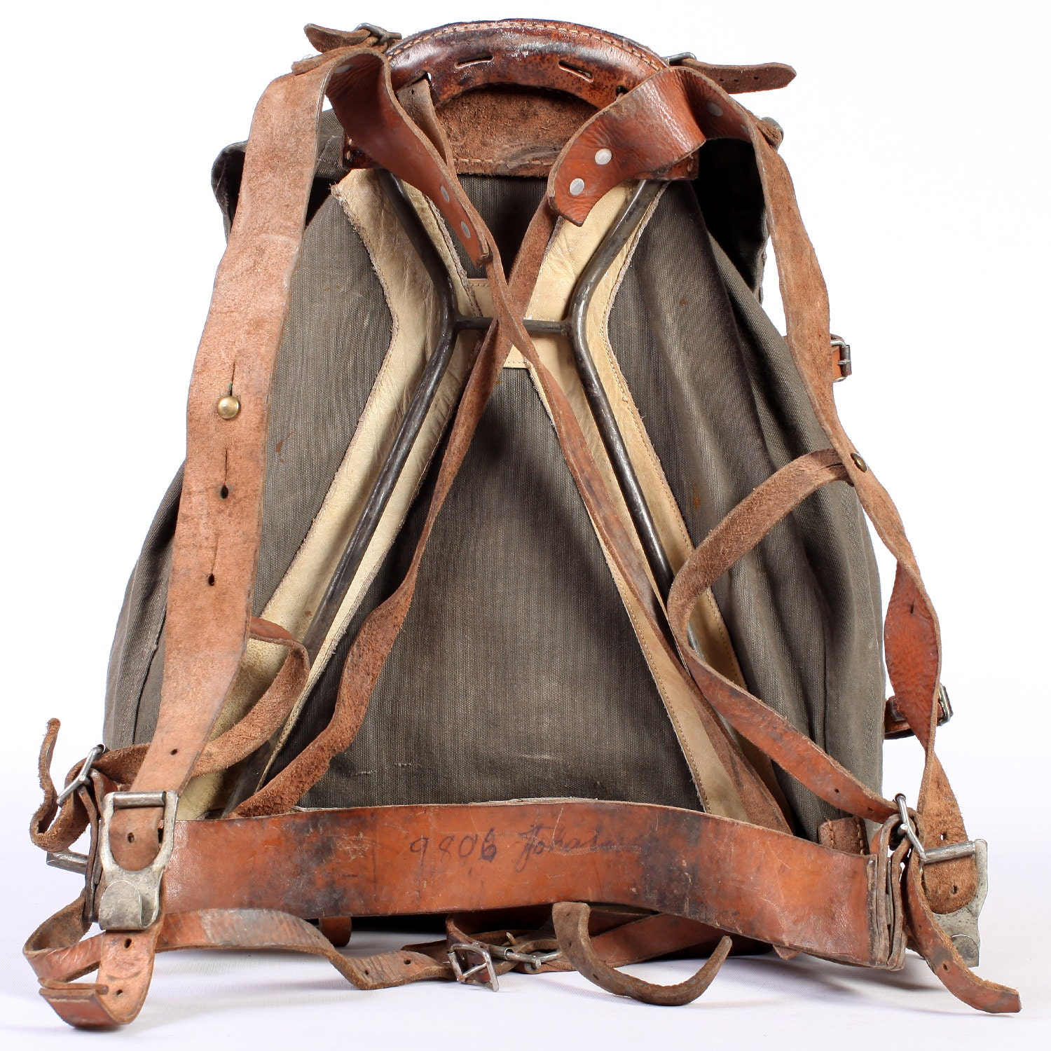 Leather and Canvas Rucksack . External Frame Backpack