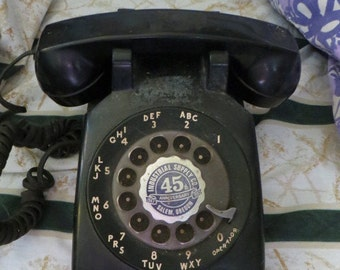 Vintage Black Bell System Rotary Phone Industrial supply company  SALEM  Oregon  45 yr anniversary phone