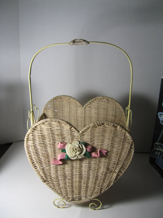 Antique Rare Wicker Heart Shaped Basket With Heavy Metal Legs