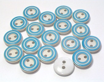 18 Blue and White Vintage Plastic Buttons Buttons Set Sewing Buttons 13mm