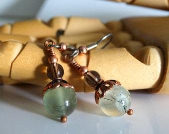 Prehnite Smokey Quartz and Copper Beaded Earrings Dangle Earrings