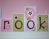 Personalized Wood Blocks - M2M Tiddliwink's Mocha Ladybug bedding - Baby Room Custom Name Block Letters - Baby Letter Blocks