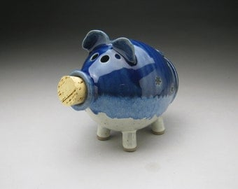 Ceramic Piggy Bank  in Blue and White with Little Black Flowers - Made to Order