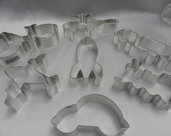 Train, Airplane, Helicopter, Beatle Bug, Fire Engine, Rocket Ship recipe cookie cutters fondant