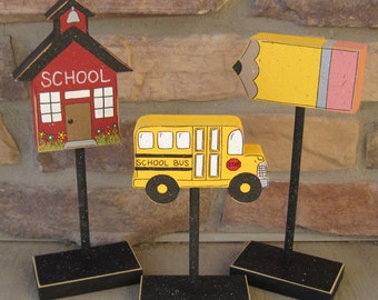 3 Tall Standing SCHOOL THEMED Block  SET with School House, Bus, and Pencil for shelf, desk, office and home decor