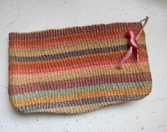 vintage. Rainbow Woven Clutch with Bird Tassel  // RETRO GLAM