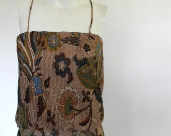 vintage. 70s Sleeveless Batik Print Dress // M