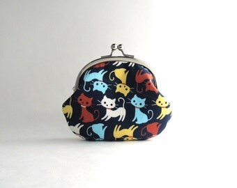 Frame Coin Purse- playing cats in navy blue