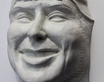 Ceramic Sculpture Giant Laughing Face Wall Piece Garden Art Smile Head Portrait