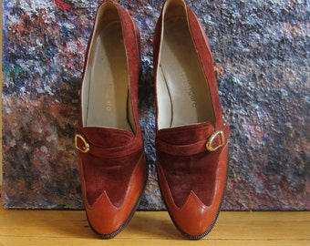 1970s Ungaro Spectator Loafers Burnt Orange Rust Suede & Leather Gold Buckle Equestrian Stacked Heel Size 5 1/2 AA Fabulous