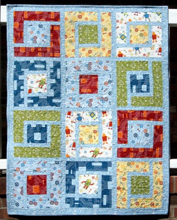 Amanda's Robot Factory  Circuit Board Boy's  Quilt