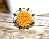 Marigold Flower and Antique Bronze Adjustable Flower Ring, Holiday Accessory, Holiday Gift