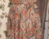 50s Print Dress Full Skirt with Matching Lined Swing Coat