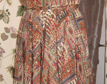 Vintage 50s Print Dress with Matching Lined Swing Coat - Full Skirt