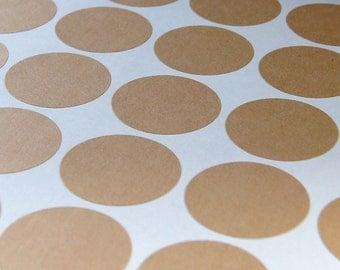 1 inch ROUND kraft brown blank labels 315 pcs