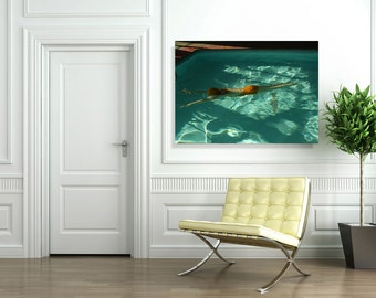 Large Scale Gallery Wrapped Canvas of Swimmer at Night