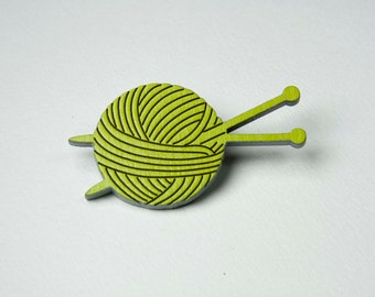 Ball of Yarn and Knitting Needles Brooch 'The Knitter' Wooden Pin