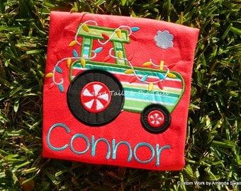 Christmas Tractor for the boys Christmas shirt custom made name