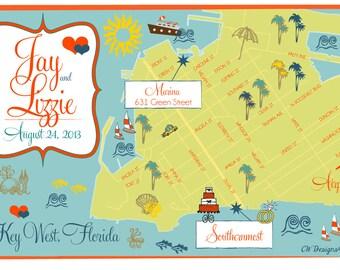 Listing for Sheila - Custom Wedding Map Save the Date - Key West, FL