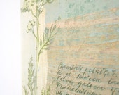 Hand painted decorative ceramic tile. Botanical, yarrow, woodland, herbs, plants, blue, white, tan, earthy, rustic, text.