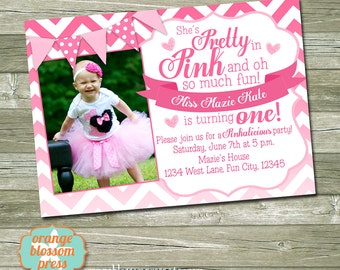 Pink Girl Birthday Party Invitation - Pinkalicious - Pretty in Pink