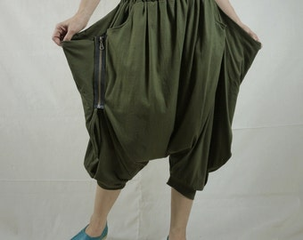 Funky Harem Boho Capric Drop Crotch Army Green Cotton Jersey Mix Pants With Zipped Flap Side And Elastic Waist