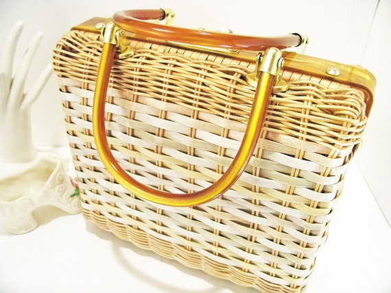 Vintage Handmade Stylecraft Miami Square Wicker Lucite Handle