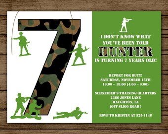 Army Birthday Invitation, Army Invite, Camo Invite, Army Party, Military Invitation, Boy Party, Digital File Printable PDF JPEG DIY