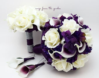 Purple Wedding Package Real Touch Picasso Callas Roses Purple Hydrangea Real Touch Rose Bridal Bouquet Grooms Boutonniere Bridesmaid Bouquet