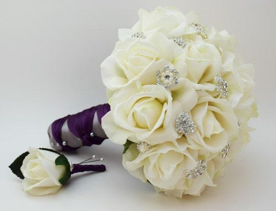 Reserved Purple Wedding Flower Package Bridesmaid Bouquets Groomsman