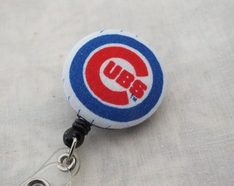 Retractable ID Badge Holder in Chicago Cubs, Baseball, MLB, Sports Badge Reel, Ready to Ship, Nurse Badge Reel, Teacher Gift, Coach Gift