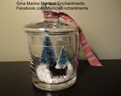 Apothecary Jar Snow Globe with frosted trees, scottie & glittered snow