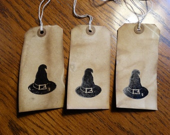 SET of 3 Large Primitive Halloween Witch Hat Hang Tags