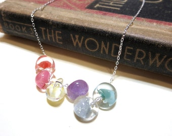Pastel Glass Droplet Necklace - Lampwork Boro Glass Beads - Feminine Delicate Sterling Silver Plated coral pink yellow purple gray aqua blue