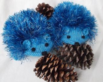 Hand Knit Blue Hedgehog Mittens Gloves Children Warm Made to order