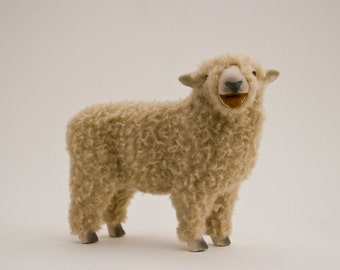 Handmade Ceramic Sheep, English Babydoll Southdown Sheep Figure in Porcelain and Wool
