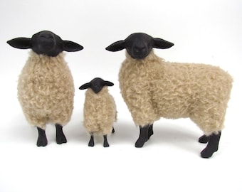 Handmade English Suffolk Porcelain and Wool Family, Life Like Sheep Figurines