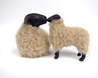 Handmade Sheep Figurine from Colin's Creatures, Lying Suffolk Nose to Nose with Lamb