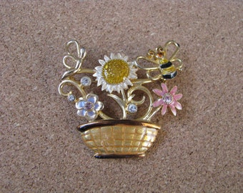 Pretty gold tone KC vintage basket pin brooch with flowers and rhinestone accents