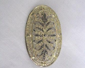Elegant vintage Alice Caviness gold sterling vermeil marcasite filigree brooch pin