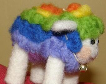 Rainbow Groovy Technicolor Needle Felted Wool Multi Color Sheep